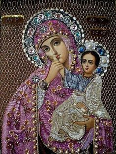 Diamond Pictures Rhinestones Mother Baby Our Lady Diamond Custom DIY Embroidery Stitch Custom Photo Gift Pictures Mosaic Religious Images, Religious Icons, Religious Art, Blessed Mother Mary, Blessed Virgin Mary, Images Of Mary, Lady Images, Mama Mary, Russian Icons