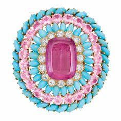 Gold, Turquoise, Pink Tourmaline, Pink Topaz and Diamond Clip-Brooch, David Webb