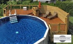 Patio with above-ground pool like the pool steps., ground pool landscaping Patio with above-ground pool like the pool steps