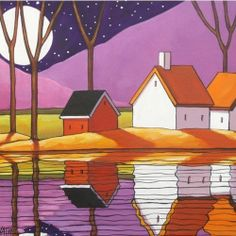 12x16 Purple Night ORIGINAL MODERN FOLK ART LANDSCAPE ABSTRACT PAINTING Horvath