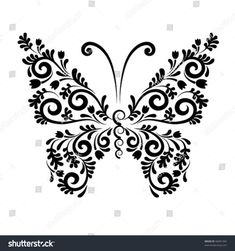 42 Super Ideas For Flowers Vector Free Black And White Tribal Butterfly Tattoo, Butterfly Mandala, Butterfly Drawing, Butterfly Crafts, Butterfly Flowers, Butterfly Design, Butterfly Wings, Corel Draw Design, Hawaiian Flower Tattoos