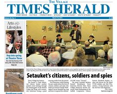 Thanks to Phil Corso for putting our program, Setauket During the Revolution, on the front page of the Village Times Herald.