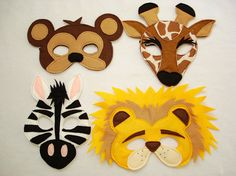 Children's Safari Animals Felt Mini Combo of 4 Masks via Etsy