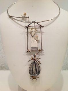 Necklace | Carolyn Morris Bach.  Sterling, 18K, 22K, Quartz, Moonstone, Cow Bone  || http://www.carolynmorrisbach.com/