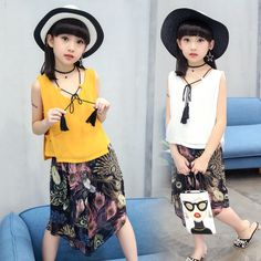 ad81769de9970 2017 Summer Teenage Girls Chiffon Sleeveless Shirt +Peacock Wide Leg Pants 2PCS  Sets Children Summer Clothes Girls Clothing Set