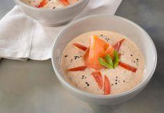 Soupe froide au yaourt et au saumonVoir la recette de la Soupe froide au yaourt et au saumon >>