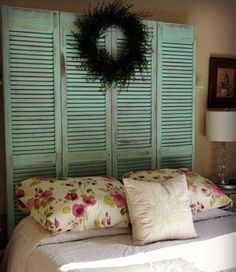 Bifold door headboard project!  I used FAT Pistachio, distressed & applied FAT Clear Coat. Http://www.facebook.com/isntthatprettymakeovers