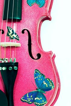 NOW ON SALE 40% OFF FOR 'BACK TO SCHOOL' PLUS FREE MUSIC STAND.  BE SURE TO USE PROMO CODE: DEAL4VIOLIN   ONLY ON ETSY!MUSIC STAND. Butterfly Dream Fuchsia Violin Outfit by Rozannaviolins on Etsy, $399.00