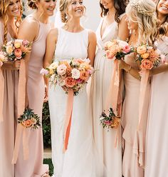 just peachy 🧡 📷 Wedding Color Combinations, Rose Petals Wedding, Spring Wedding Bouquets, Peach Flowers, Bridesmaid Dresses, Wedding Dresses, Chic Wedding, Wedding Designs
