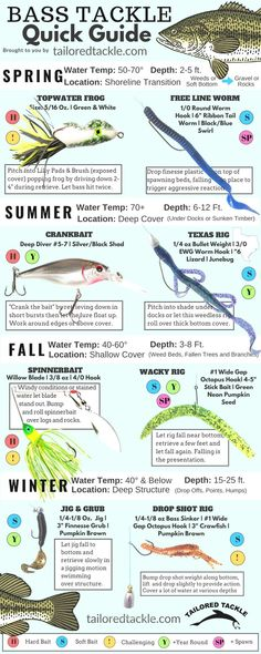 Bass Fishing Lure Quick Sheet - A Fast Reference to Popular Bass Fishing Lures a. - Bass Fishing Lure Quick Sheet – A Fast Reference to Popular Bass Fishing Lures and Soft Bait Rigs - Bass Fishing Pictures, Bass Fishing Rods, Bass Fishing Tackle, Bass Fishing Videos, Fishing Jig, Ice Fishing, Fishing Boats, Fishing Tricks, Best Bass Fishing Lures
