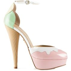 CHARLOTTE OLYMPIA 'Ice Cream' pump (€690) ❤ liked on Polyvore featuring shoes, pumps, heels, leather peep toe pumps, leather pumps, leather platform pumps, peep toe shoes and platform heels pumps