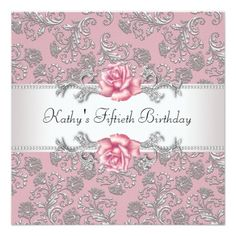 Pink Rose Damask Womans Birthday Party Custom Invites