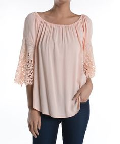 Look what I found on #zulily! Peach Lace-Accent Boatneck Top - Women #zulilyfinds