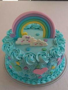 Ideas Baby First Birthday Party Ideas Girl Decor For 2019 Fondant Cakes, Cupcake Cakes, Basic Vanilla Cake Recipe, Buttercream Cake Designs, Rosalie, Baby Birthday Cakes, Rainbow Birthday, Rainbow Baby, Girl Cakes