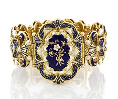 An enamel and diamond bracelet, circa 1880 gross weight approximately: 83.9 grams; mounted in eighteen karat gold; length: 7in.