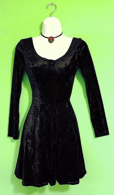 Vintage 90s Goth Black Velvet Mini Dress Grunge Club Kid Hella 90s Spice Girls Avant Garde Hipster Skater Witchy For Her Party Groovy Women on Etsy, $30.00
