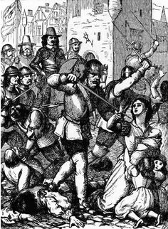 Cromwellian Massacre at Drogheda. The officers and soldiers were first exterminated, and then men, women, and children were put to the sword. The butchery occupied five entire days: Cromwell has himself described the scene, and glories in his cruelty. Another eyewitness, an officer in his army, has described it also, but with some faint touch of remorse.