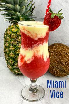 Slushy Alcohol Drinks, Alcohol Drink Recipes, Mixed Drink Recipes, Party Drinks, Cocktail Drinks, Fun Drinks, Beverages, Miami Vice Drink, Miami Vice Theme