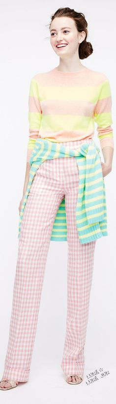 Spring...that shows how you can mix patterns...JCrew Spring 2016 - change pants to ankle crops, this could be Spring FG