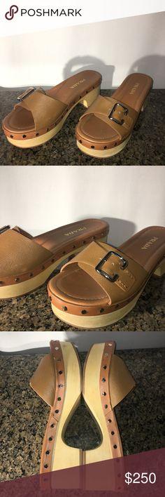 bdaccbd49186 Prada Saffiano Buckle Slide Clog Clog Info: a. Saffiano leather b. Slide  clog