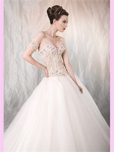 Ball Beading Lace Tulle Wedding Dress