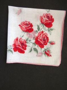 Vintage Roses Handkerchief Hanky Hankie  Long Stem Pink Red
