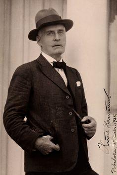 "Knut Hamsun (1859-1952), Norwegian author. ""for his monumental work, Growth of the Soil"""