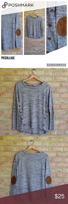 Gray Sweater with elbow patches! Gray sweater from Blu Pepper with brown buttons and brown elbow patches. Super cute top!  Lightly worn. No snags, rips, or stains!  In great condition!! Blu Pepper Sweaters