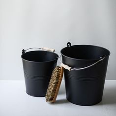 A truly useful set of two black galvanized metal buckets for cleaning, storage, gardening, styling and decorating. Made in Germany by Redecker,...