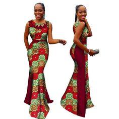 72b7dbea55e9 African Woman Print Splice O Neck Mermaid Dresses Dashiki African  Traditional Clothing