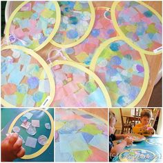 Egg shapes cut on the Silhouette.  Egg shape placed on Contact Paper.  Kids applied square pieces of tissue paper and circles cut from our ...