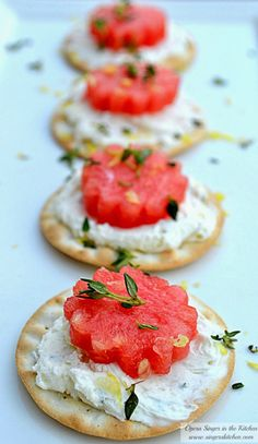 Thyme and Lemon Watermelon Appetizer - These are perfect for a tea, brunch, or any party that requires an appetizer. These are it and so tasty!