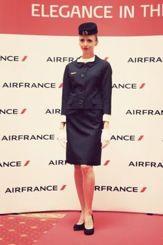 Christian Dior suit for Air France, 1963 Air France, Airline Uniforms, Christian Dior, Peplum Dress, Design Inspiration, Suits, Elegant, Designers, Dresses