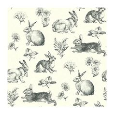 York Wallcoverings AT4263 Ashford Toiles Bunny Toile Prepasted Wallpaper, White/Black