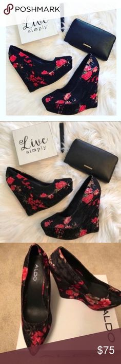 Aldo floral wedges Feminine and flirty! Comfortable wedge velvet heels with pointed toe. Make me an offer! Aldo Shoes Wedges