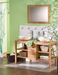 couleur vert salle de bain bois naturel - Recherche Google