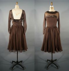 chocolate illusion party dress / couture quality #vintagedress #vintage #silk #party #dress