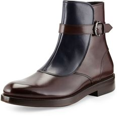 Salvatore Ferragamo Power Two-Tone Leather Boot, Brown/Blue on shopstyle.com