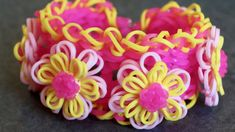 Rainbow Loom™ Pink Lemonade Dahlia Bracelet Tutorial by YarnJourney