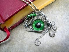 Steampunk - Dragon Evil Eye - Pendant - Green - OOAK - Color OMG!!!! ~~ Hand Painted dark creepy silver emerald swirl - one of a kind by LadyPirotessa for $31.00