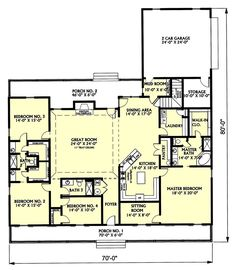 Country Style House Plan - 4 Beds 3 Baths 3029 Sq/Ft Plan #44-129 Floor Plan - Main Floor Plan - Houseplans.com