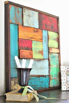 Scrap Wood Art- for large brick deck wall art diy art easy art ideas art painted art projects Scrap Wood Art, Scrap Wood Projects, Woodworking Projects, Art Projects, Art On Wood, Pallet Projects, Scrap Wood Crafts, Woodworking Patterns, Woodworking Workbench