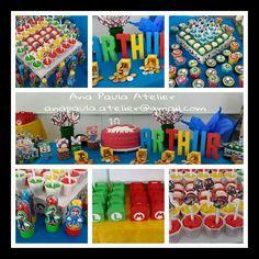 Festa de aniversário do Arthur.  10 anos Tema: Super Mario Bros  Feito com muito amor e carinho  #anapaulaatelier #scrap #supermario #festasupermario #feitoamao #euquefiz #silhouette #10anos #scrapfesta