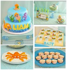 Love the Octopus Orange Pepper idea and the bait cups ...Bubble Guppies party