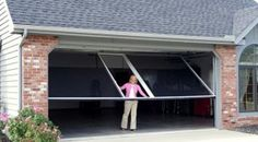 A light weight screen door for your garage that fits on the same track as your garage door. Perfect.