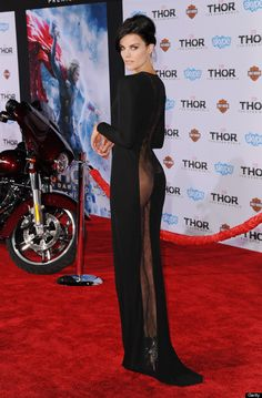 Jaimie Alexander in a sheer Azzaro gown, forgoing underwear at the Thor Dark World Premiere.