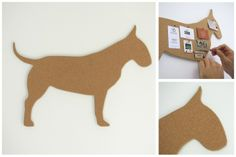 getCork Bull Terrier shaped pin board by get cork Earth Design, English Bull Terriers, Office Accessories, Decorative Items, Cork, Dinosaur Stuffed Animal, Shapes, Projects, Fun