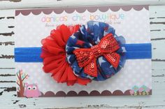 Fourth of July double ballerina headband Red/White/Royal Blue with a red sparkle bow embellishment <3 $10.50 plus shipping.  Made by Danica's Chic Bowtique.