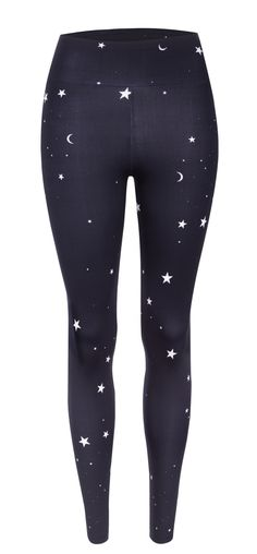 Stylish and cool with cute white stars and moons these Star print leggings from Hey Honey make transitioning from HIIT workout to chic daywear a breeze.
