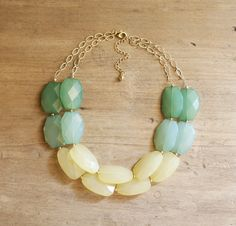 Green, Mint and Yellow Colorblock Double Strand Statement Necklace - Mint Bib Necklace